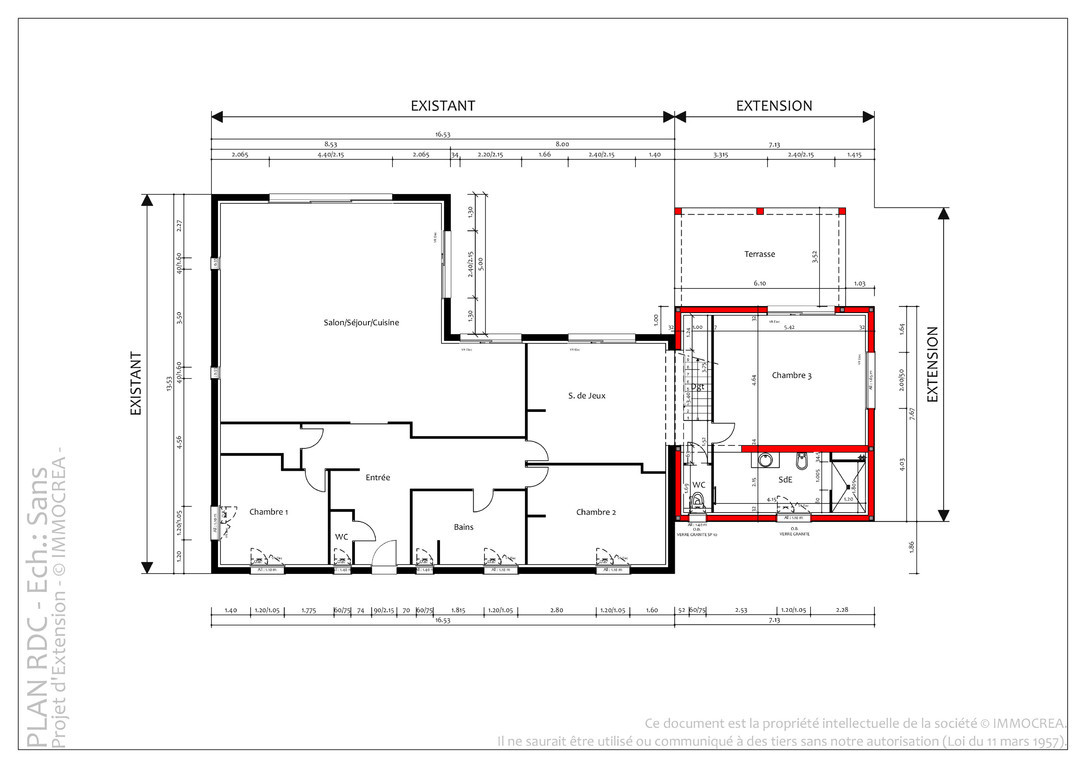 Plan agrandissement maison individuelle extension de for Agrandissement maison plan
